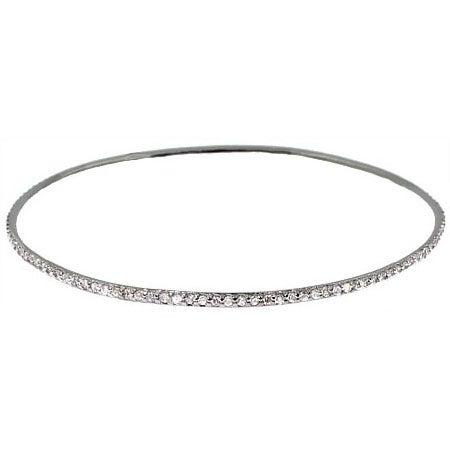 Sterling Silver Stackable CZ Bangle Bracelet | Eve's Addiction®