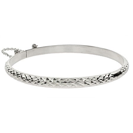 Engravable 5mm Diamond Cut Sterling Silver Bangle | Eve's Addiction®