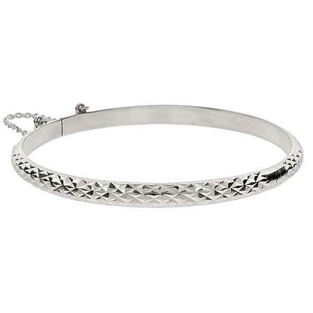 Engravable 5mm Diamond Cut Sterling Silver Bangle