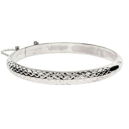 Engravable 7mm Diamond Cut Sterling Silver Bangle | Eve's Addiction®