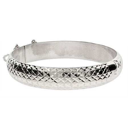 Engravable 12mm Diamond Cut Sterling Silver Bracelet | Eve's Addiction®