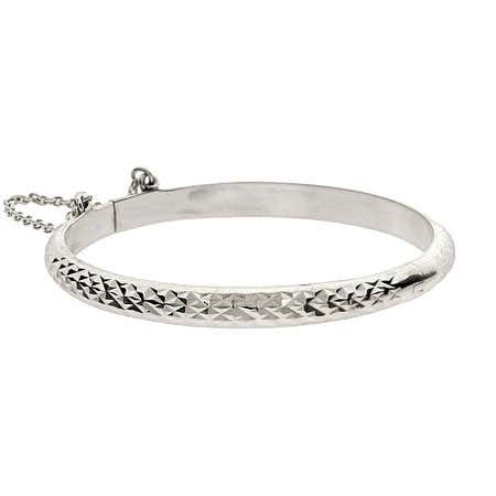 Engravable Diamond Cut Sterling Silver Baby Bangle