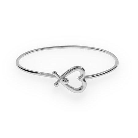 Silver Heart Bangle Bracelet | Eve's Addiction®