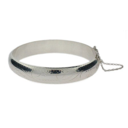 Engravable Etched Design 12mm Sterling Silver Bangle Bracelet | Eve's Addiction®