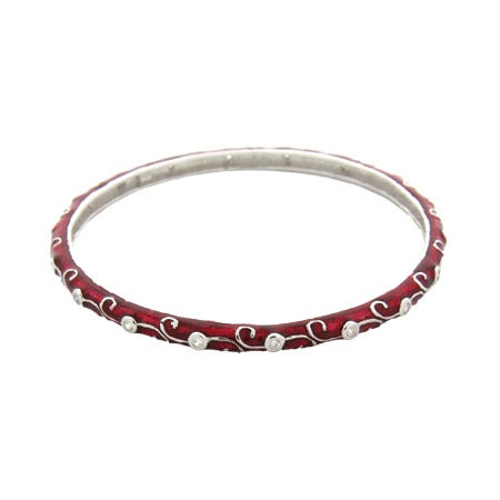 Ruby Red Enamel Sterling Silver Bangle with Vintage Design | Eve's Addiction®