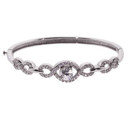 Scroll Design CZ Bangle Bracelet | Eve's Addiction®