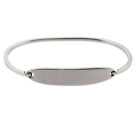 Ladies Thin Oval ID Engravable Bangle Bracelet | Eve's Addiction®