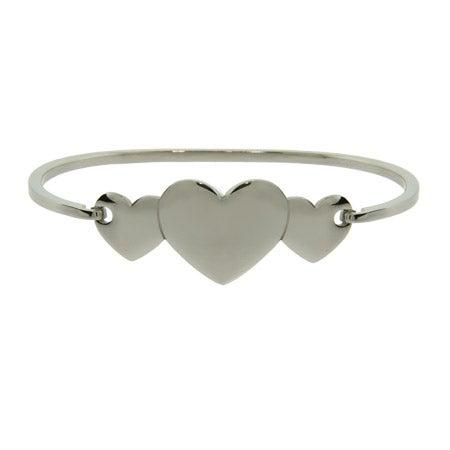 Engravable Three Hearts Bangle Bracelet | Eve's Addiction®