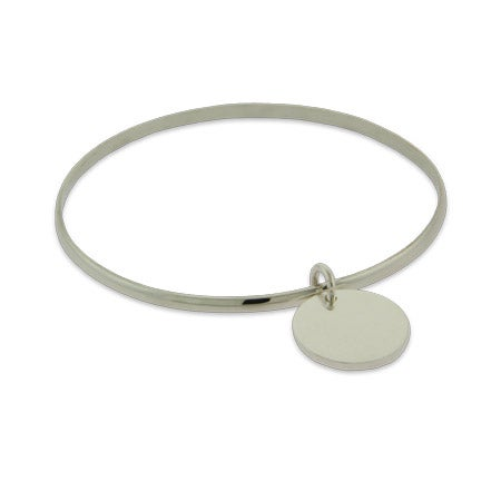 Sterling Silver Bangle Bracelet with Engravable Charm