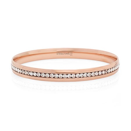 Engravable Rose Gold Plate Channel Set CZ Bangle Bracelet | Eve's Addiction®
