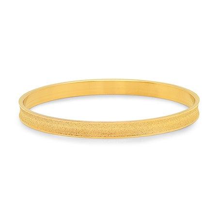 Engravable Frosted Golden Bangle Bracelet | Eve's Addiction®