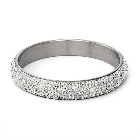 White Swarovski Crystal Pave Bangle Bracelet | Eve's Addiction®