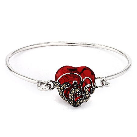Vintage Style Garnet Heart Marcasite Bracelet | Eve's Addiction®