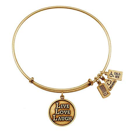 display slide 1 of 4 - Live, Love, Laugh Charm Wind & Fire Adjustable Gold Bangle - selected slide