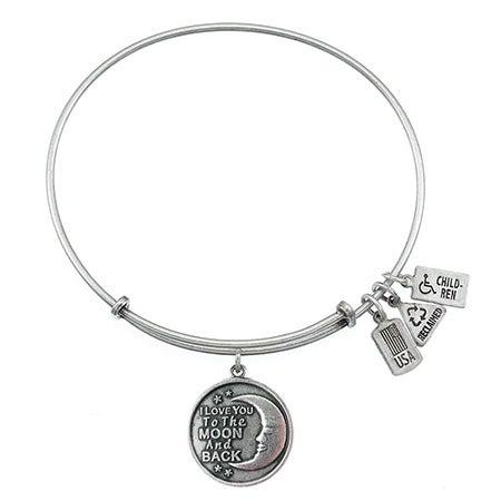 I Love You To The Moon & Back Charm Bangle Bracelet   Eve's Addiction®