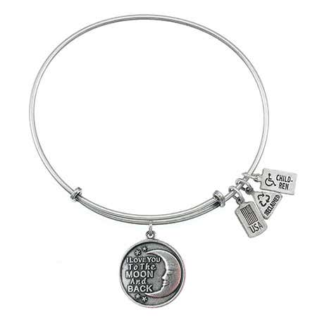 I Love You To The Moon & Back Charm Bangle Bracelet