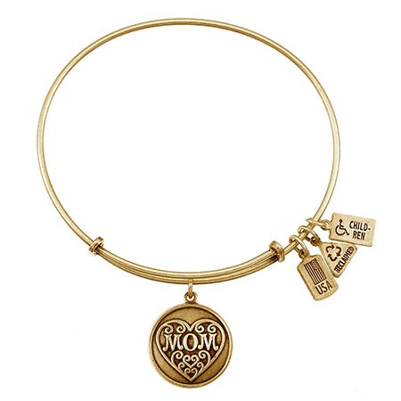 Mom Charm Gold Bangle Bracelet by Wind & Fire | Eve's Addiction®