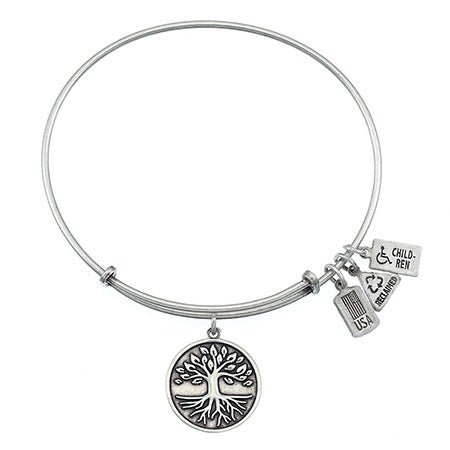 Wind & Fire Tree of Life Charm Silver Bangle Bracelet | Eve's Addiction®