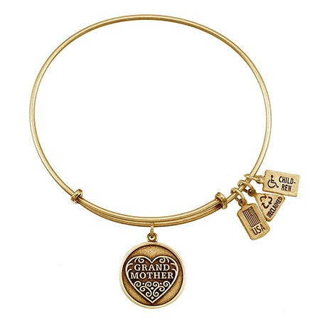 Grandmother Charm Gold Bangle Bracelet by Wind and Fire | Eve's Addiction®