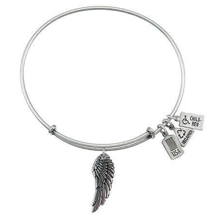 Wind & Fire Angel Wing Charm Bangle Bracelet | Eve's Addiction®