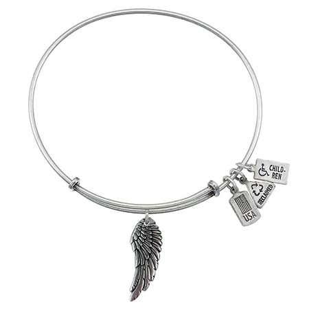 Wind & Fire Angel Wing Charm Bangle Bracelet