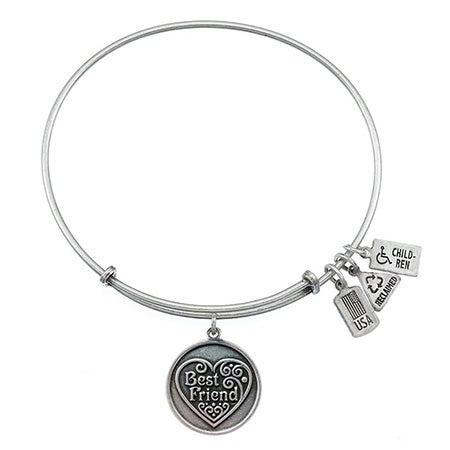 Wind & Fire Engravable Best Friend Charm Bangle Bracelet | Eve's Addiction®
