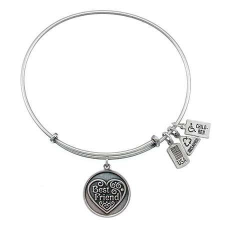 Wind & Fire Engravable Best Friend Charm Bangle Bracelet