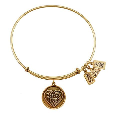 Best Friend Charm Gold Expandable Bangle Bracelet by Wind & Fire