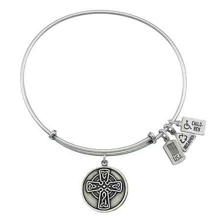 Wind & Fire Celtic Cross Charm Bangle Bracelet
