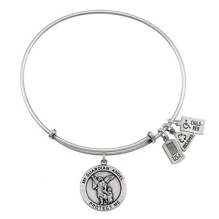 Wind & Fire Guardian Angel Charm Bangle Bracelet