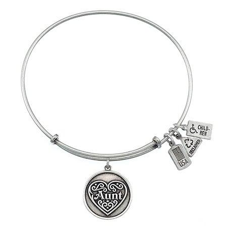 Wind & Fire Engravable Aunt Charm Bangle Bracelet | Eve's Addiction®