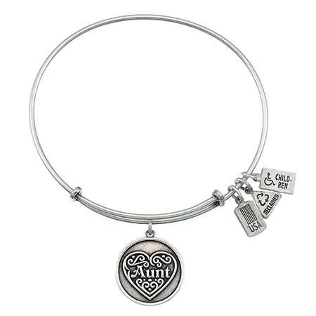 Wind & Fire Engravable Aunt Charm Bangle Bracelet