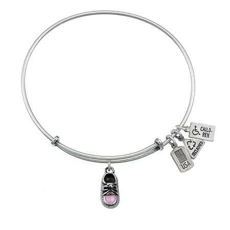 Wind & Fire Pink Baby Shoe Charm Bangle Bracelet | Eve's Addiction®