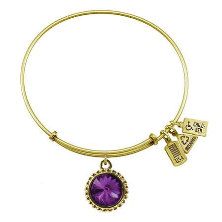 February Amethyst Swarovski Crystal Round Charm Gold Bangle Bracelet | Eve's Addiction®