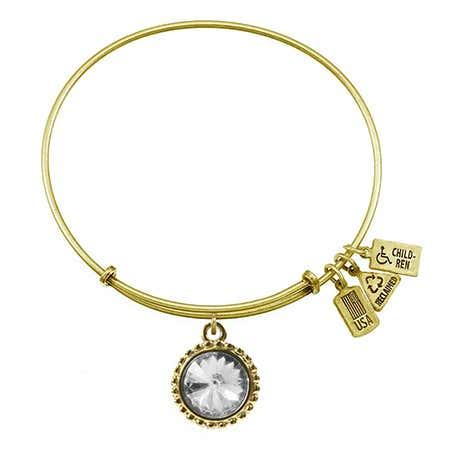 April Diamond Swarovski Crystal Gold Charm Bracelet by Wind & Fire