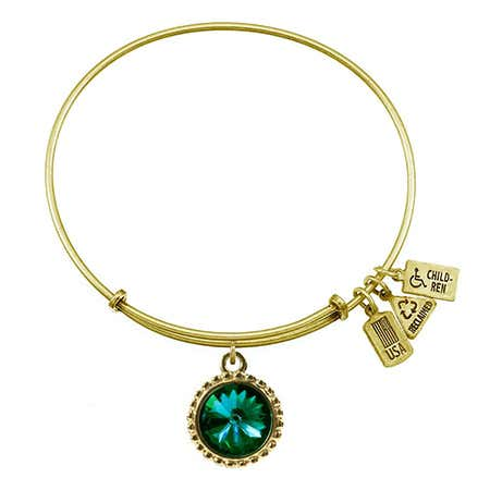 May Swarovski Birthstone Gold Charm Bracelet from Wind and Fire
