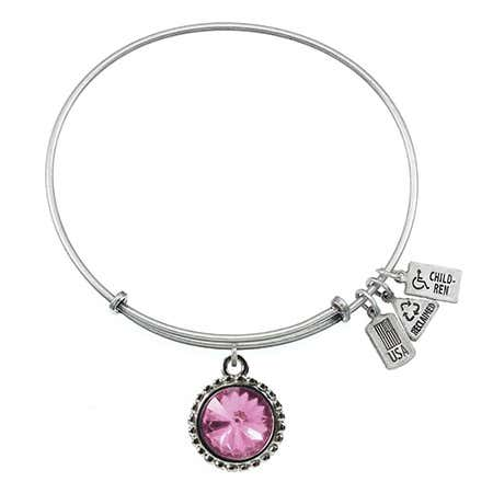 Wind & Fire June Swarovski Birthstone Charm Silver Bangle Bracelet