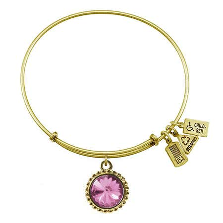 display slide 1 of 2 - June Alexandrite Swarovski Crystal Round Charm Gold Bangle Bracelet - selected slide