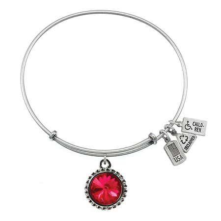 Wind & Fire July Swarovski Birthstone Charm Bangle Bracelet in Silver