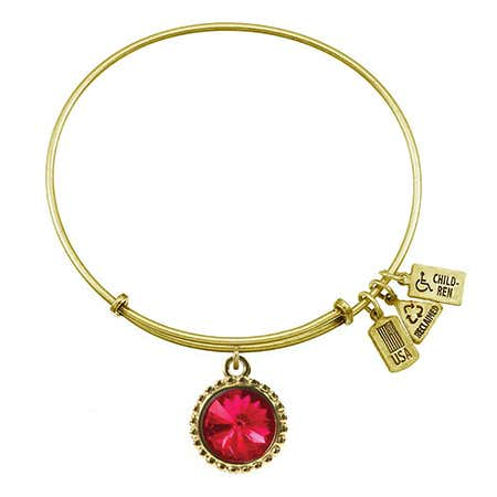 July Ruby Swarovski Crystal Charm Gold Bracelet by Wind & Fire