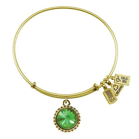 August Peridot Swarovski Crystal Charm Bracelet in Gold