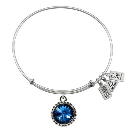 Wind and Fire September Swarovski Birthstone Charm Bangle Bracelet