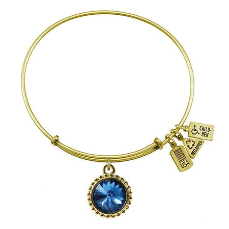 September Sapphire Swarovski Crystal Charm Gold Bangle Bracelet | Eve's Addiction®