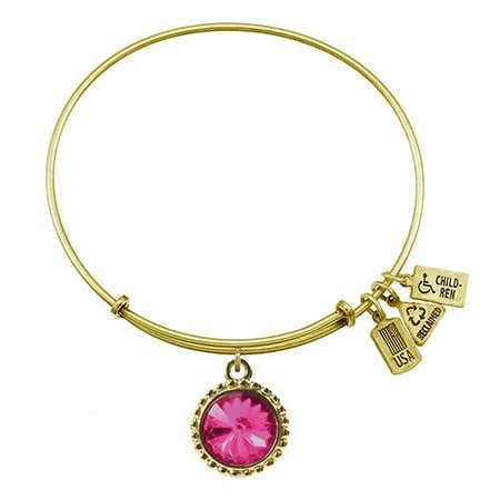 October Pink Tourmaline Swarovski Crystal Charm Gold Bracelet