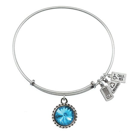 Wind & Fire December Swarovski Birthstone Charm Bangle Bracelet | Eve's Addiction®