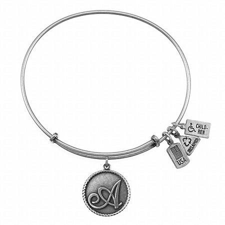 Wind & Fire Letter A Initial Charm Bangle Bracelet   Eve's Addiction®
