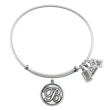 Engravable Letter B Initial Tag Bangle Bracelet from Wind & Fire