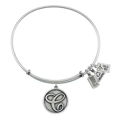 Wind & Fire Letter C Initial Charm Bangle Bracelet with Silver Finish
