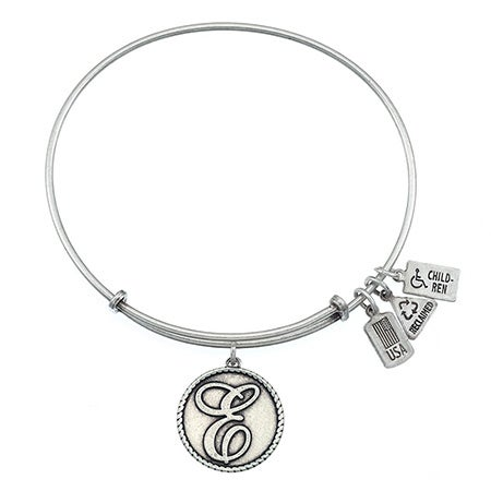 Wind & Fire Engravable Round E Initial Charm Bangle Bracelet | Eve's Addiction®