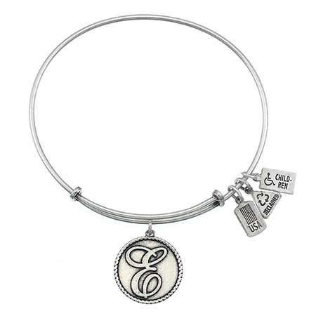 Wind & Fire Engravable Round E Initial Charm Bangle Bracelet